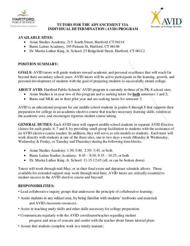 Avid tutors job description final for posting 2015 2016
