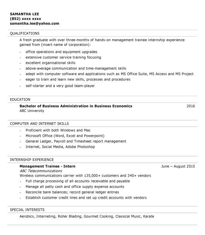 Resume sample for Management Trainee | jobsDB Hong Kong