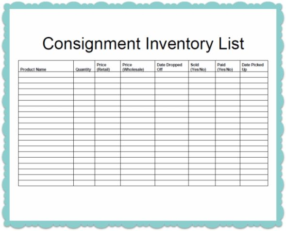 Consignment Inventory Template | Business, Craft and Craft fairs