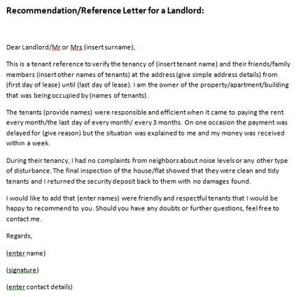 Recommendation Letter for Landlord | Just Letter Templates