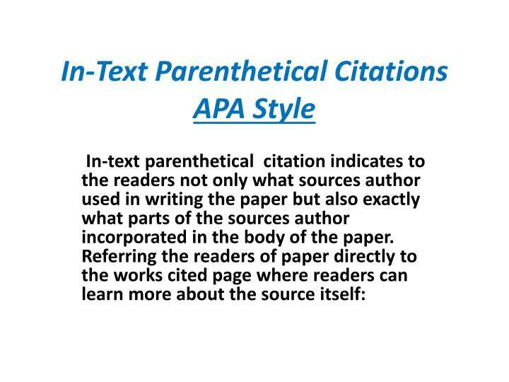 PPT - In-Text Parenthetical Citations APA Style PowerPoint ...