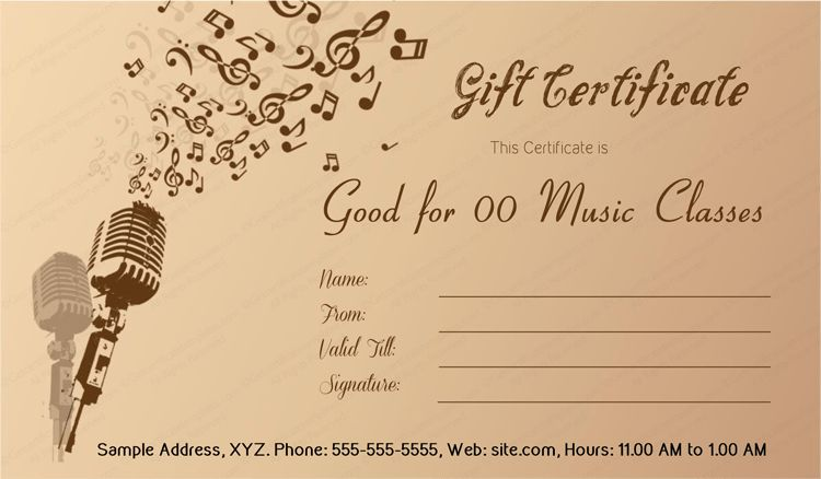 Best Music Gift Certificate Template #giftcard #gift #certificate ...