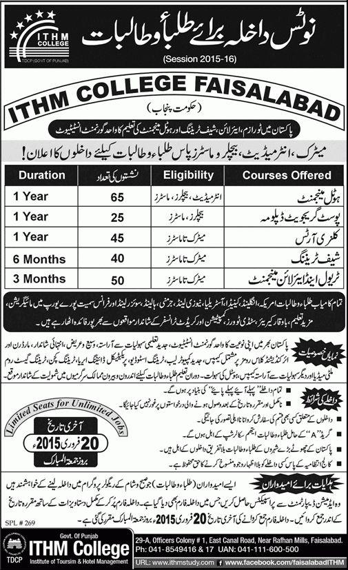 ITHM College Faisalabad Admission 2015-2016 Institute of Tourism ...