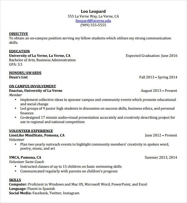 Sample Resume Template for Students in University - 9+ Free ...