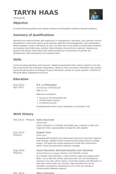 Tutor Resume samples - VisualCV resume samples database
