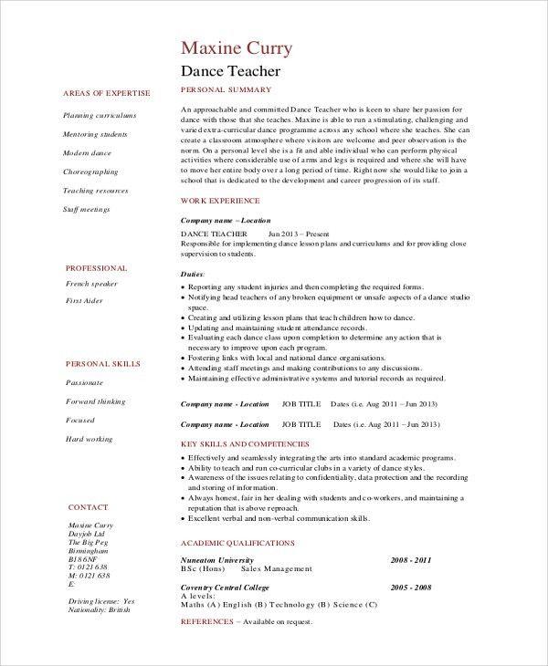 Sample Dance Resume - 10+ Examples in Word, PDF