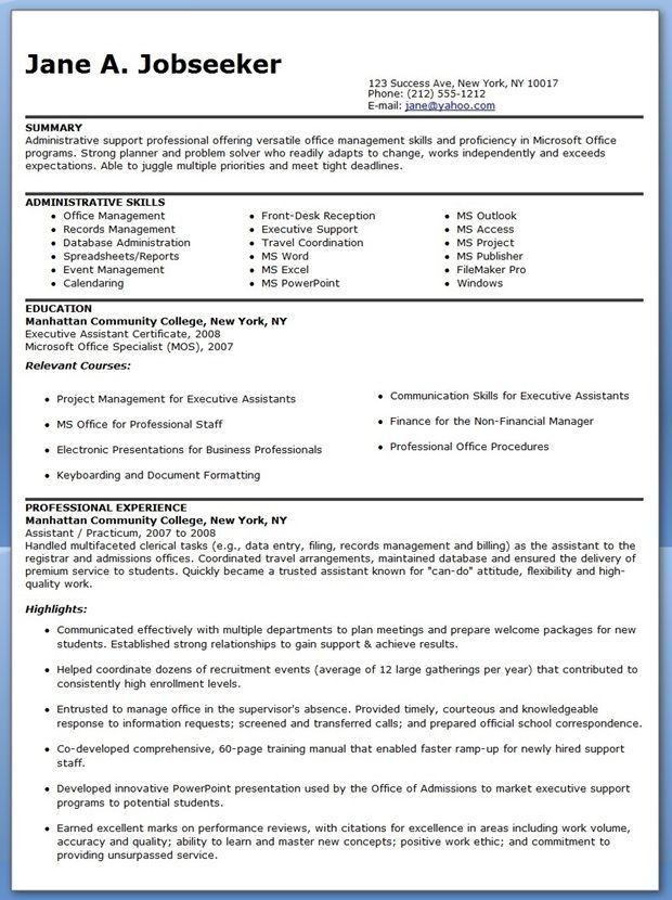 Examples Of Executive Assistant Resumes. Administrative Assistant ...