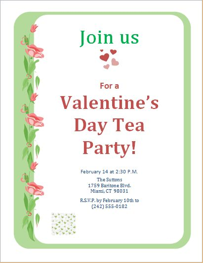 Valentine's Day Tea Party Invitation Template | Word & Excel Templates