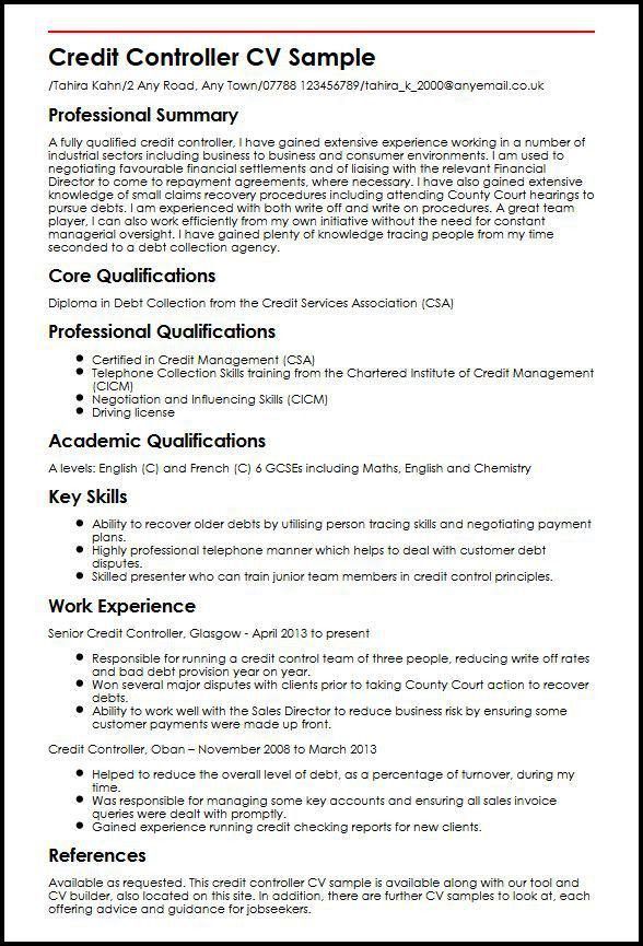 Credit Controller CV Sample | MyperfectCV