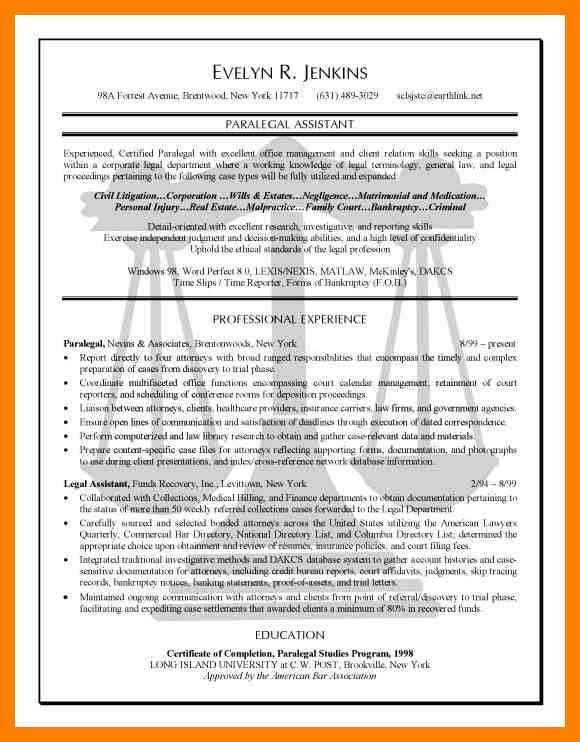 paralegal resumes examples