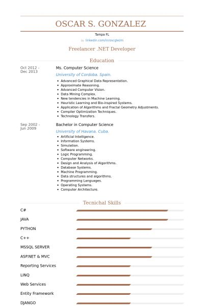 Freelancer Resume samples - VisualCV resume samples database