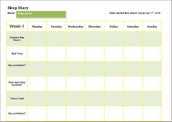 Child Sleep Diary Template DOWNLOAD at http://www ...
