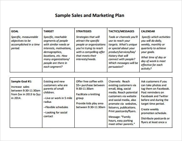 sales plan template word