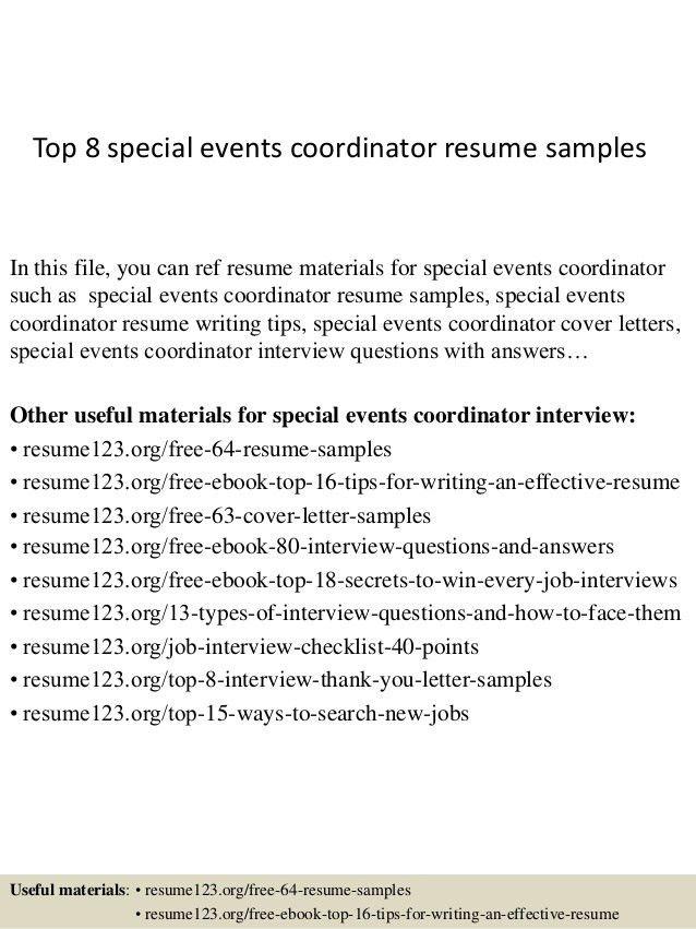 sample special events coordinator resume executive summary event