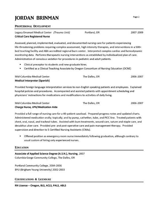 sample travel nursing resume page 3 2014. graduate nurse resume. a ...