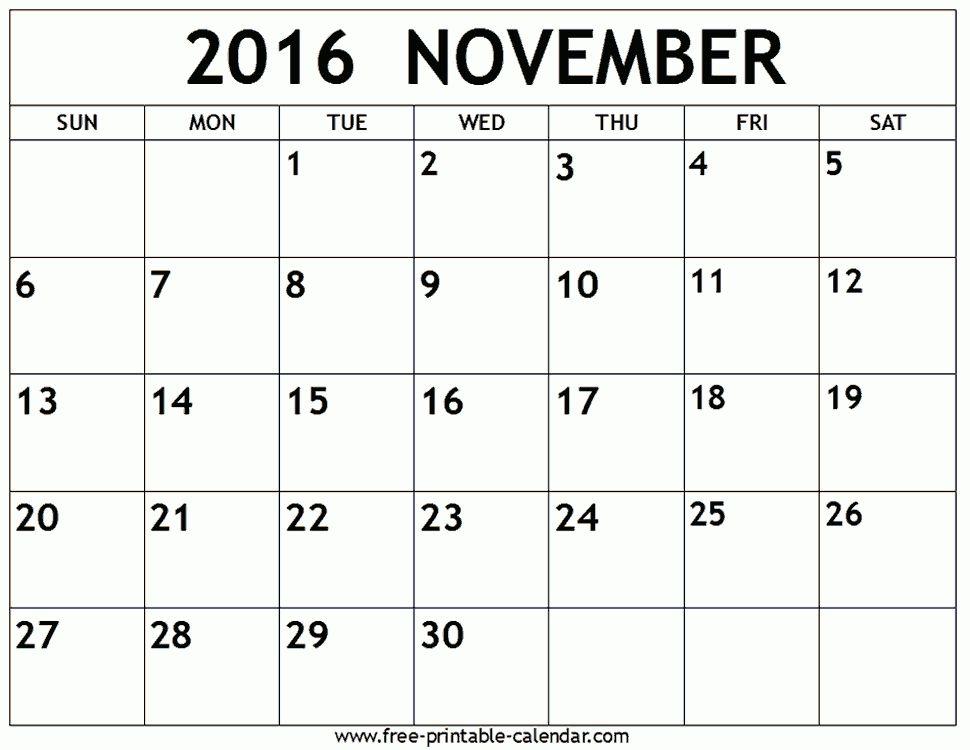 Monthly Calendar November 2016