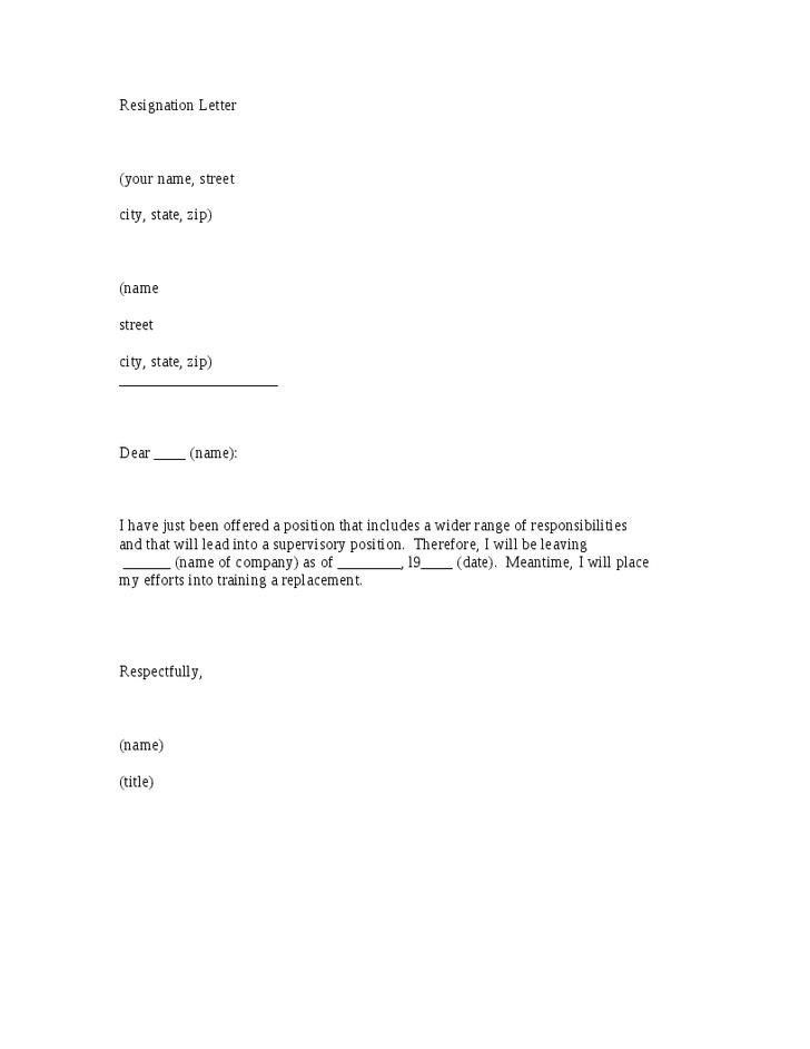 Resignation Letter Format: Leaving Company Position Sample Of ...