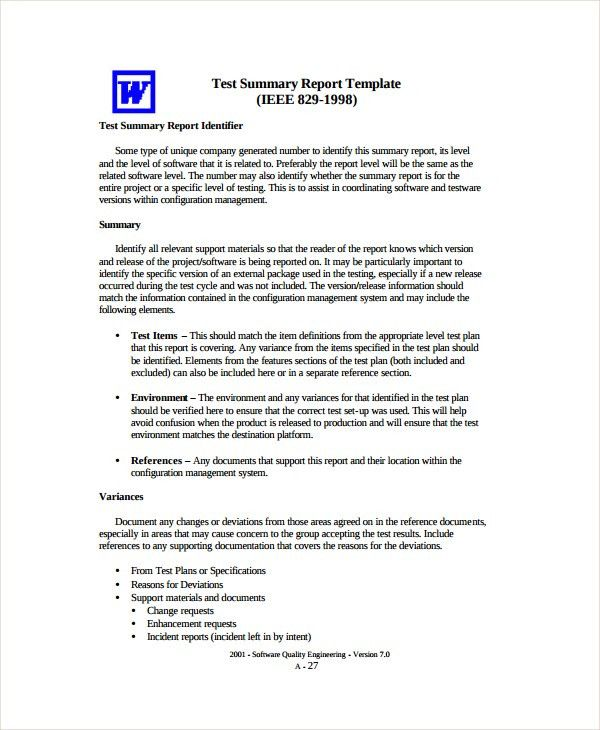 Sample Test Report Template - 9+ Free Documents Download in Word, PDF