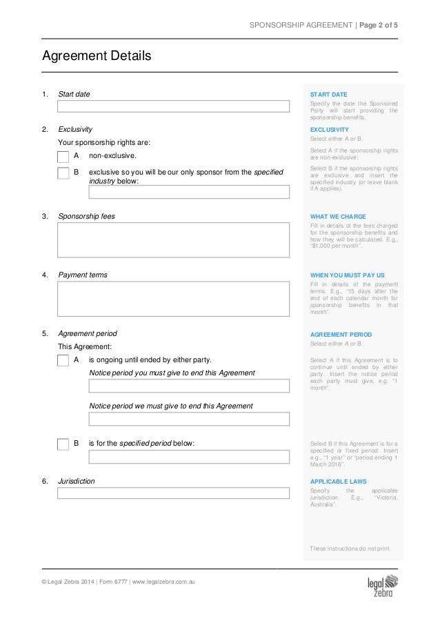 Sponsorship Agreement Template - Sample