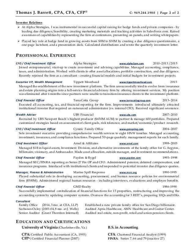 Barrett Resume - CFO