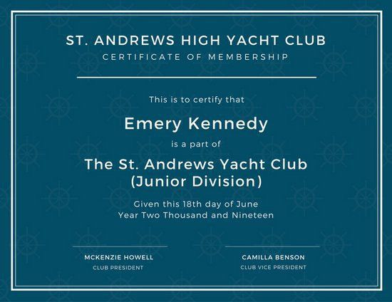 High School Yacht Club Membership Certificate - Templates by Canva