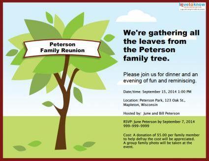 Customizable family reunion invitation | Reunion Ideas | Pinterest ...
