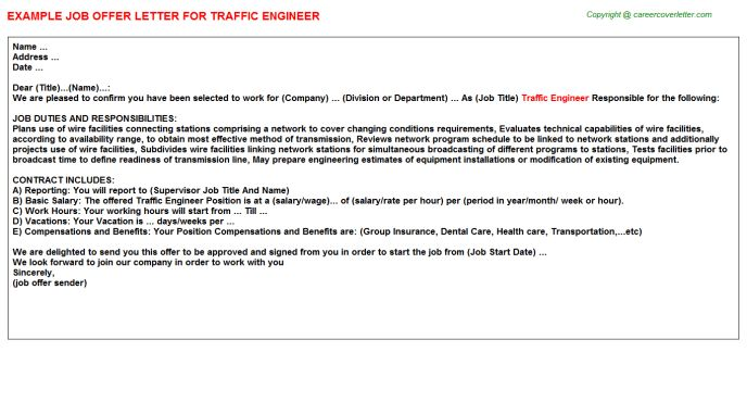 Traffic Engineer Offer Letter