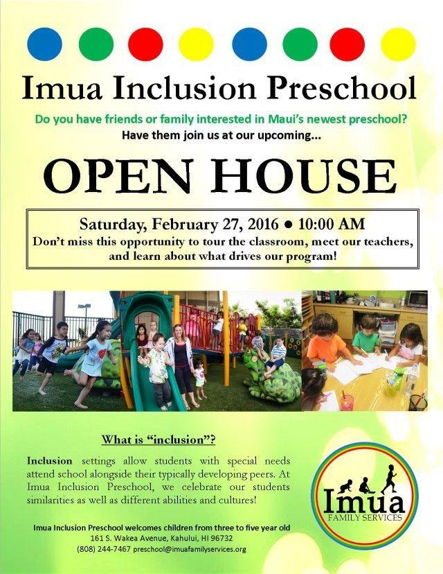 Imua Inclusion Preschool Open House - Imua Family Services
