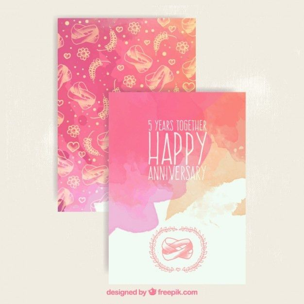 Watercolor anniversary card Vector | Free Download