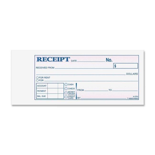 Adams TC2701 Tapebound 3-part Money Receipt Book 50 Sheet(s ...
