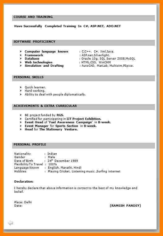 itfresherresumeformatinword. resume format for iti. resume formats ...