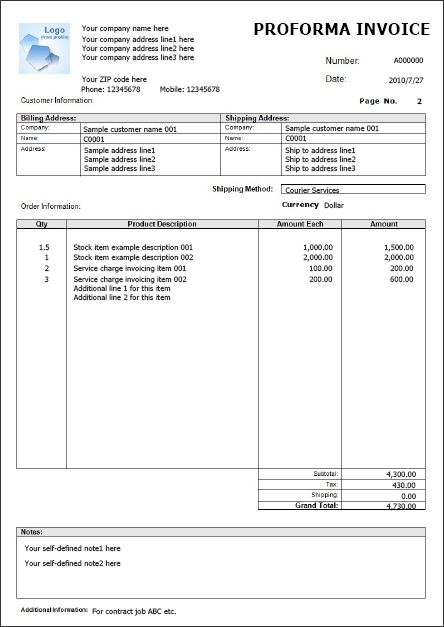Invoice example free download | Word Excel invoice example | Easy ...