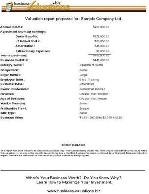 Sample Business Valuation Report - Business-Valuations.biz