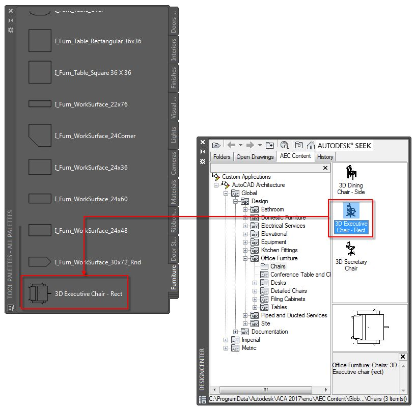 To Create a Tool From AEC Content in DesignCenter | AutoCAD ...
