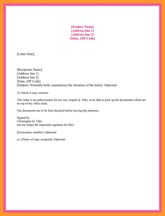 4+ authorization letter to claim money | salary receipt letter