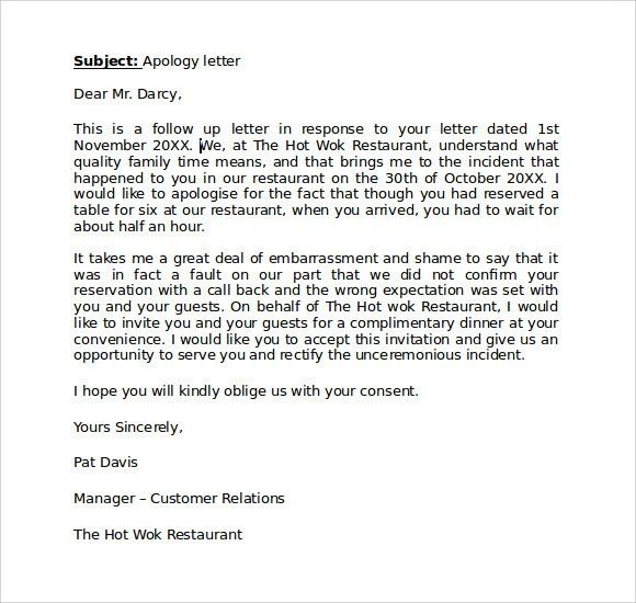 The 50 best Apologize Letter To Client | apology letters to guests ...