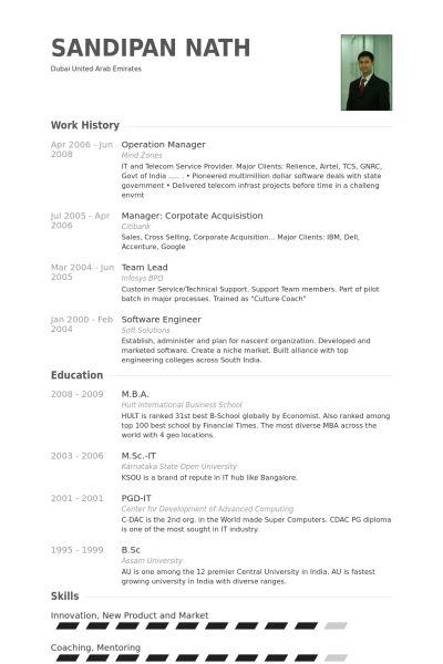 Operation Manager Resume samples - VisualCV resume samples database