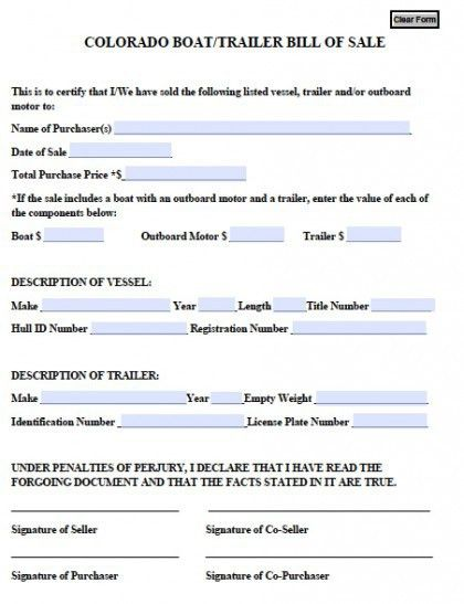 Free Colorado Boat/Trailer Bill of Sale Form | PDF | Word (.doc)