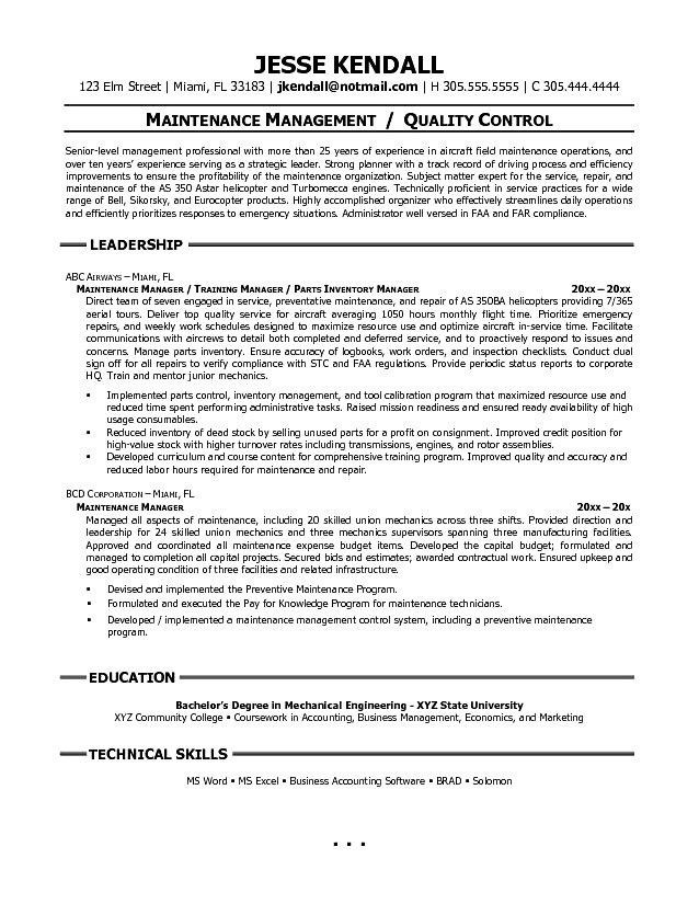 10 Building Maintenance Resume Examples Resume apartment ...