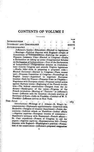 The Works of Thomas Jefferson, vol. 1 (Autobiography, Anas, 1760 ...