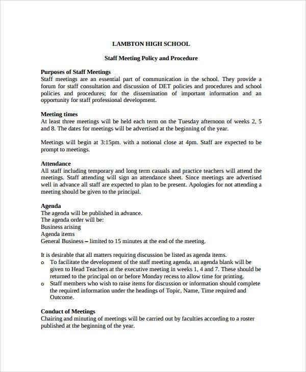 Sample Staff Meeting Agenda - 6+ Documents in PDF