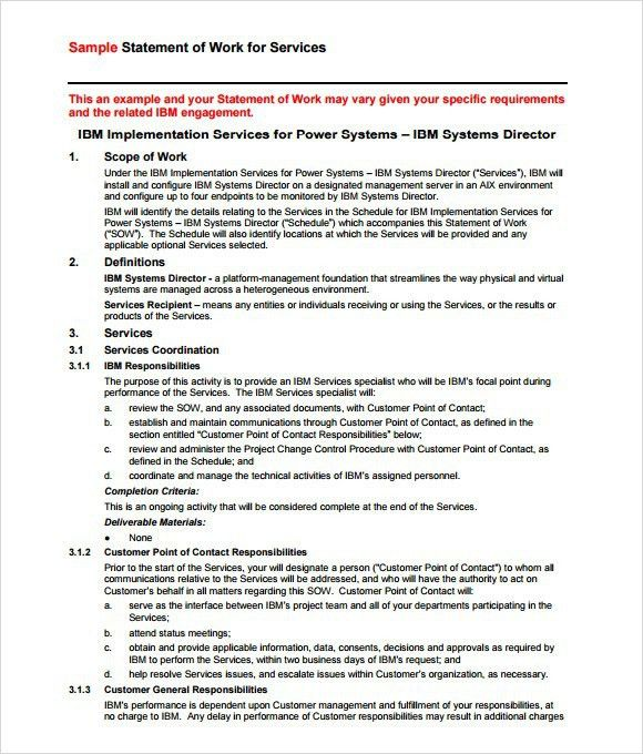 Statement Of Requirement Template. statement of work template ...