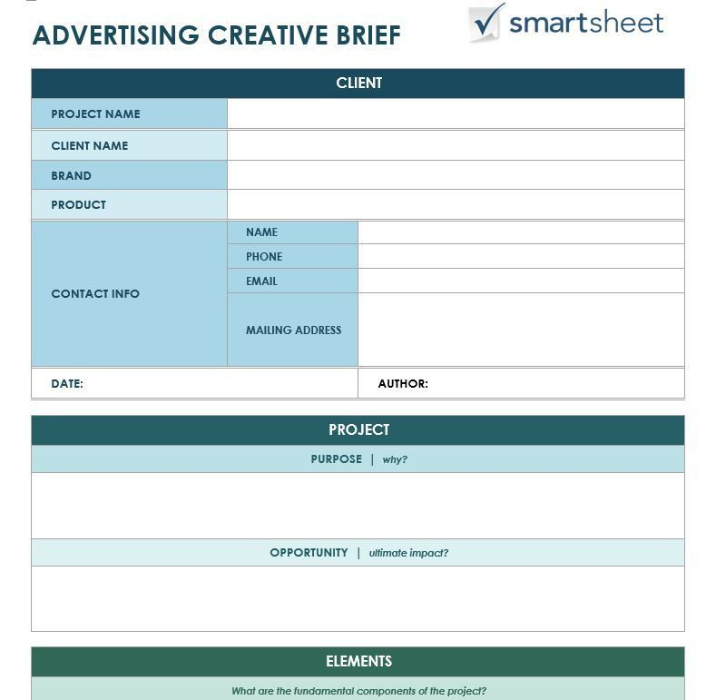 Free Creative Brief Templates - Smartsheet