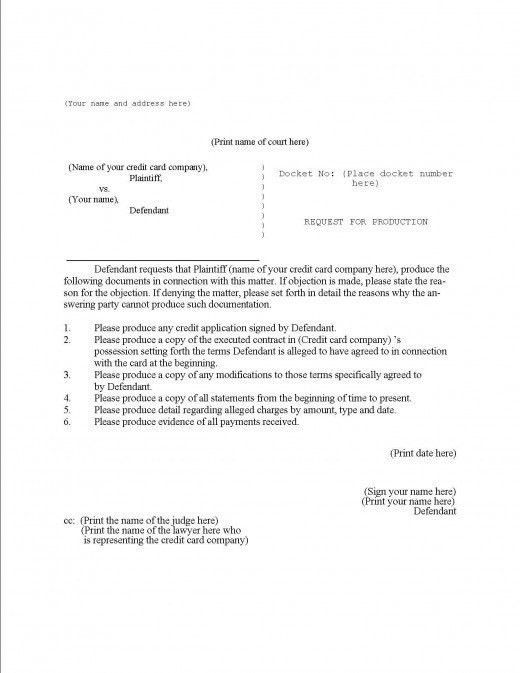 Request For Production Of Documents Template | Template Idea