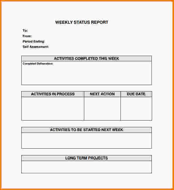 Weekly Status Report Template.Sample Weekly Status Report PDF ...