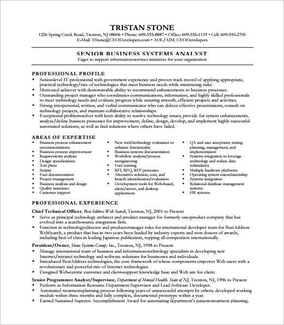 Business Analyst Resume Template – 11+ Free Word, Excel, PDF Free ...