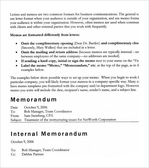 External Memo Templates. Internal Memo Template Internal Memo ...