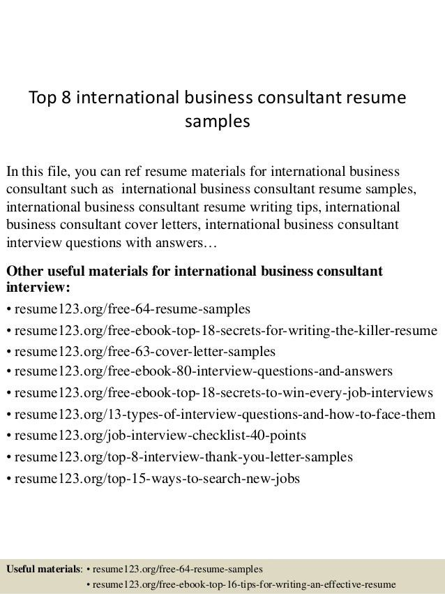 top 8 international business consultant resume samples 1 - International Resume Template