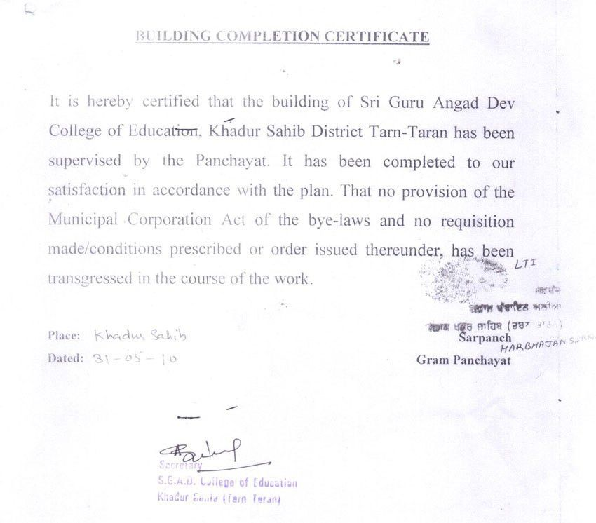 Building Completion Certificate - Sri Guru Angad Dev College of ...