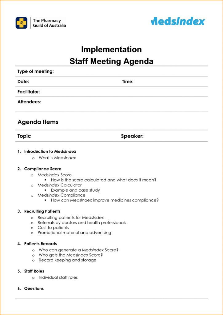 11 Staff Meeting Agenda Template Rejection Letters 33426470 ...